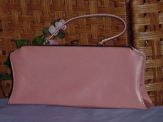Vintage Pink Summer Clutch Bag Purse, Handle 1950 1960s