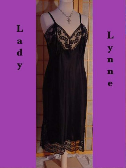Lady Lynne slip Vintage slip Black Lacy Slip Bodice Fantastic Nylon Satin full lace bodiced slip