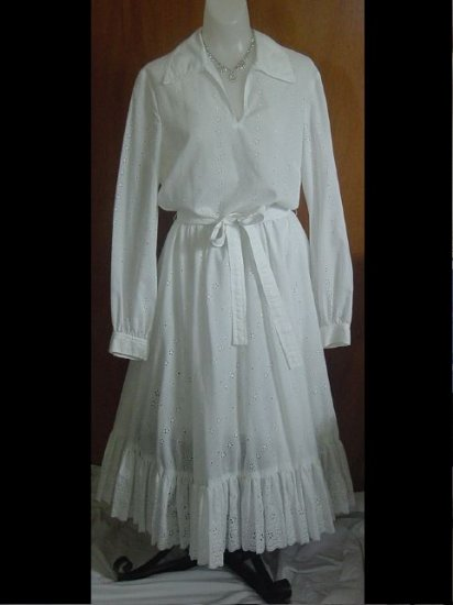 Vintage  Dress 1960s 1970s CARLYE Summer Dress White Casual  No. 12