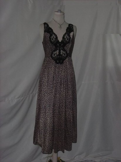 Vintage Miss Elaine Classics Animal Print FormFit Nightgown Lace Inset silky night gown  #9