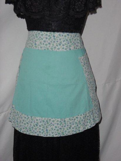 Vintage Turquoise and print Apron half apron 1940s, 1950s vintage apron  No. 5