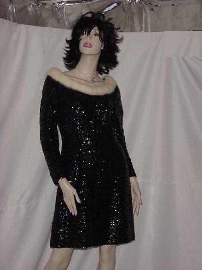 Vintage Dress Black Sequin Mini Dress Ermine Collar Vintage 1960s 1970 mini sequined dress