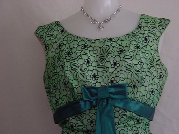 1950s 1960 Sublime Green flocked vintage prom dress formal dress party dress  No. 2