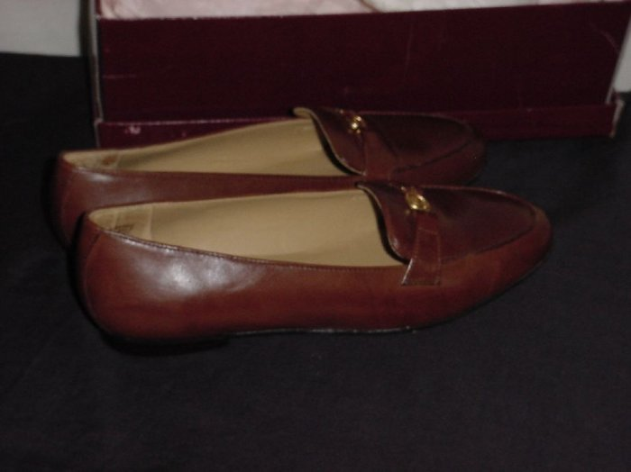 Sleek Leather Etienne Aigner New In Box 6.5 M Loafer Tobacco Brown Shoe  No. 110