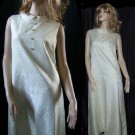 Ivory Brocade Sleeveless Vintage Dress Rhinestone Buttons   No. 24