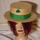Vintage Dobbs men's hat Sz 7  Straw Boater Green Clover Pantlind Hotel Grand Rapids mens hat  No. 25
