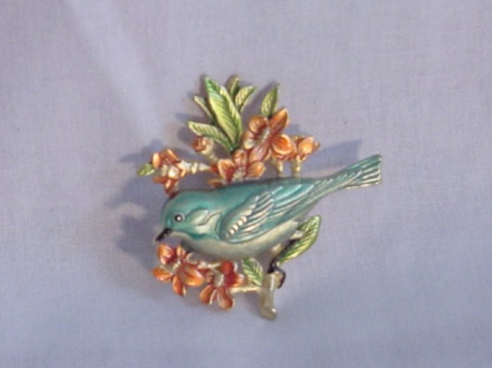 Vintage Bird Pin Brooch Signed JJ Costume Jewelry