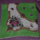 Vintage Scarf Green Hand Rolled, Rose bouquets 6 1/4 Monme   53