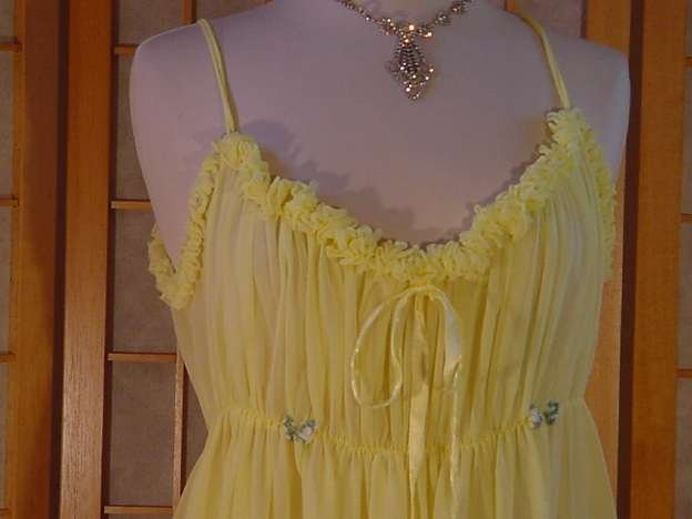 Yellow Ruffly Vintage Nightgown set