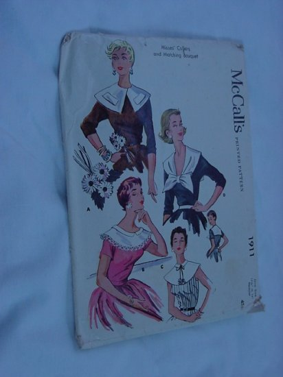 McCall's 1911 Vintage collar Pattern 1954 Collars and matching bouquet  No. 116