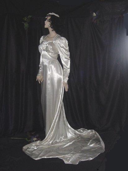Wedding dress ivory 1930s gown 1940s bridal dress silk for Vintage satin wedding dresses