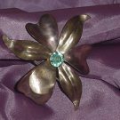 Petal pin Vintage pin brooch Blue stone center Art Deco #55