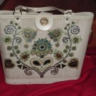 Kit Purse 1970s Flower Power Blue Brown Floral Design Vintage Purse from Kit  41