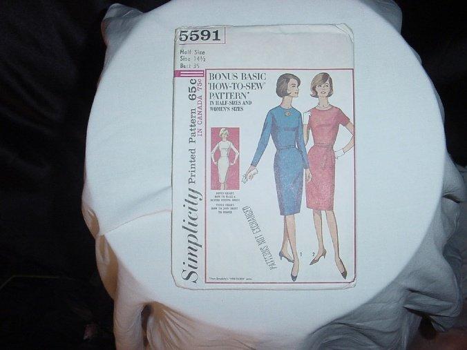 Simplicity dress pattern 5591 vintage 1964 dress pattern 14 1/2 bust 35   41
