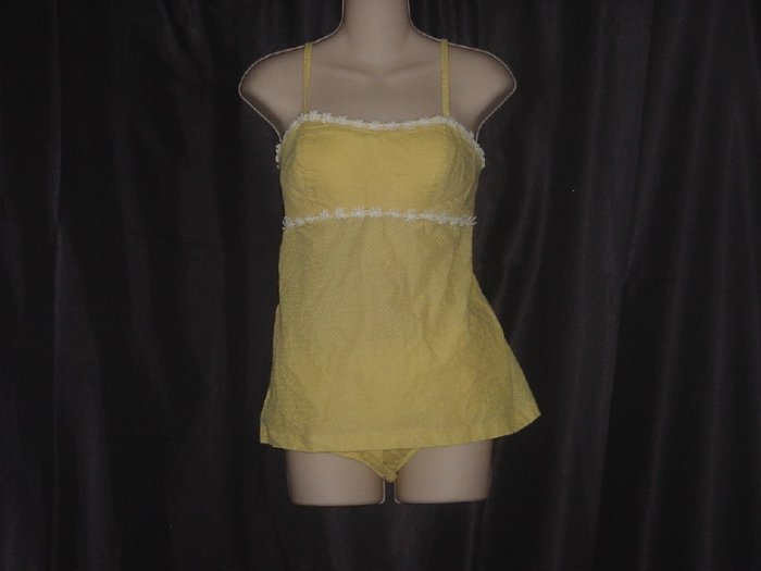 Vintage 2 piece swim suit Yellow dotted swiss swimsuit 1950s 1960s   42