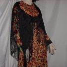 Rayon vintage shawl scarf mantilla Roses fringed black shawl #63