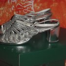 Vintage ladies silver shoes strapped shoes chunk heels womens shoes  #56