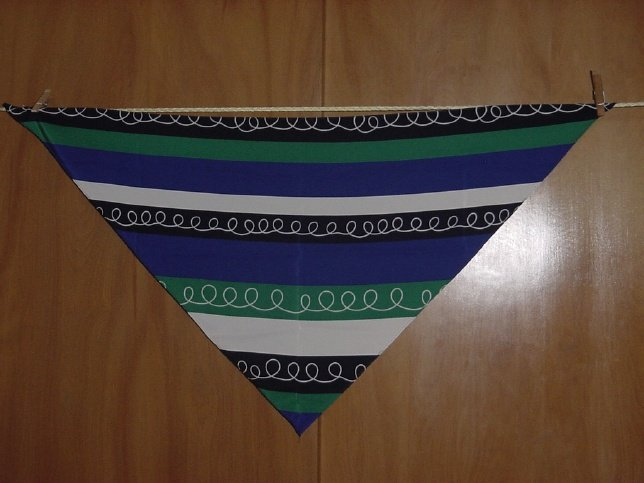 Scarf Triangular striped scarf Blue Green Black White   52