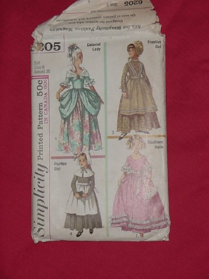 Simplicity printed pattern 6205 Girl size 8 colonial lady frontier gal puritan southern belle - 54
