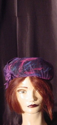 Hat feather vintage womens hat pink blue feathered pillbox  #19