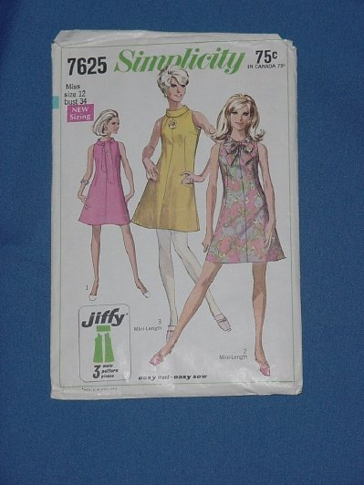 Simplicity pattern 7625 Vintage pattern dress 1968 size 12 bust 34  54