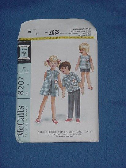 McCalls pattern  8207 Vintage pattern Child dress top shirt, pants shorts applique 1966 size 5   54