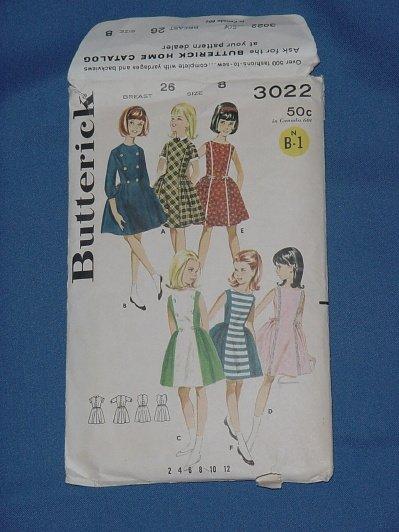 Butterick pattern 3022 Vintage pattern Girls dress size 8 bust 26  54