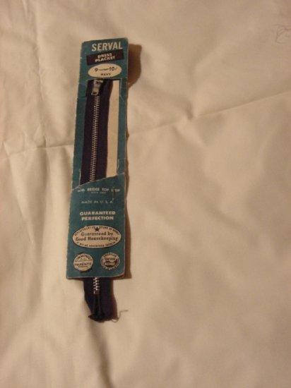 Zipper vintage metal zipper Serval Dress Placket Navy 9 inch zipper Dress Placket Original Card  54