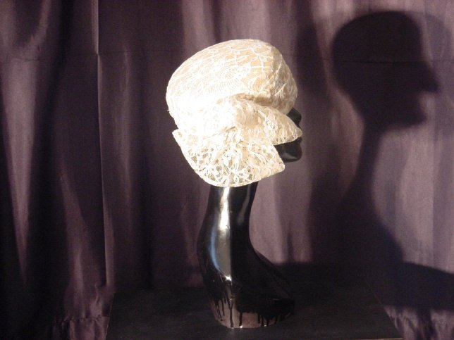 Ladies hat Cream Lace covered Womans hat by Sonni #55
