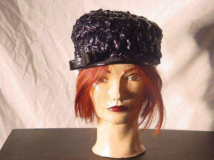 Hat ladies black Straw Vintage womens Lord and Taylor Patent leather trim Pillbox  # 19