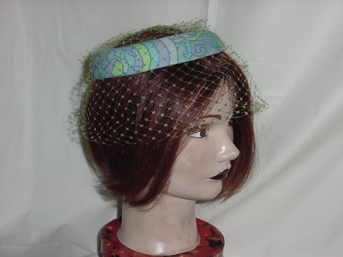 Womens vintage ring hat Mod design turquoise green net ladies hat  #28