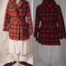 Plaid fall winter jacket womens vintage coat belted  #55