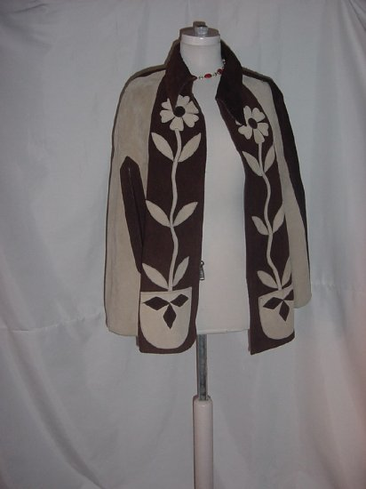 Brown two tone 1960s 1970s Mod Leather Suede Poncho Stunning Vintage hippie Jacket boho #56
