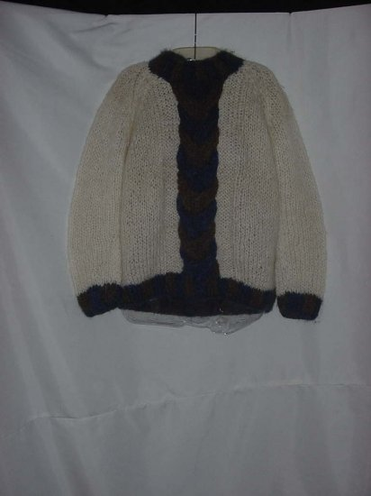 Sportmaker by Maidenform Vintage Hand knit Italy Mohair Sweater Ivory Blue Green sweater #56