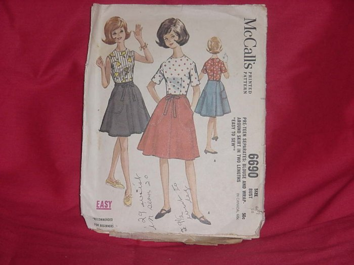 McCall's Skirt Pattern 6690 pre-teen separates blouse only pattern pieces  #10