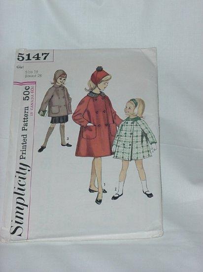 Simplicity Girls Coat 1950s Pattern 5147    #59