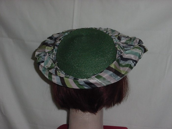Hat Leci vintage leaf green poly straw fabric border pink green gray #62
