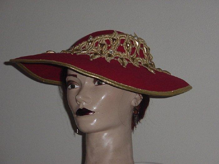 Hat Ladies Mr. John Classic Red Gold New York Paris Womens hat  #67