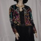 Beaded Sequin Jacket Vogue Nights Beaded Sweater Party Cruise Silk Jacket  #70