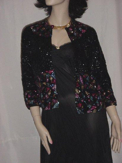 Bead Sequin Jacket Sweater Party Cruise Silk Evening Jacket  #70