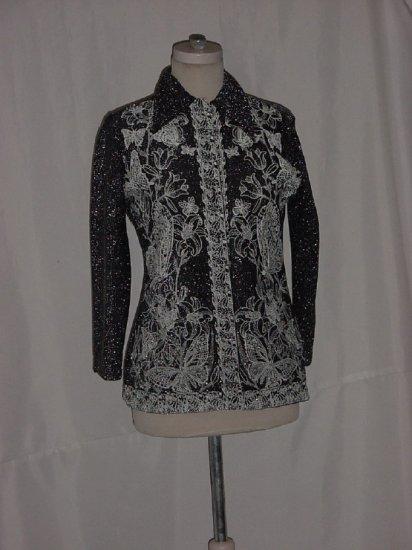 Black Silver Metallic Floral Accent Vintage Evening Blouse  #70