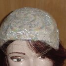 Sequin vintage womans hat bandeau iridescent sequins cocktail dinner hat Veil  #73