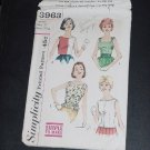 Simplicity Blouse Pattern 3963  HAS FLAW Piece missing Teen Jr. Size 11  Bust 31 1/2 No. 82
