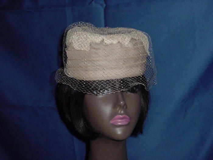 Pillbox creamed coffee Vintage pillbox Ladies hat Lace top net  No. 80