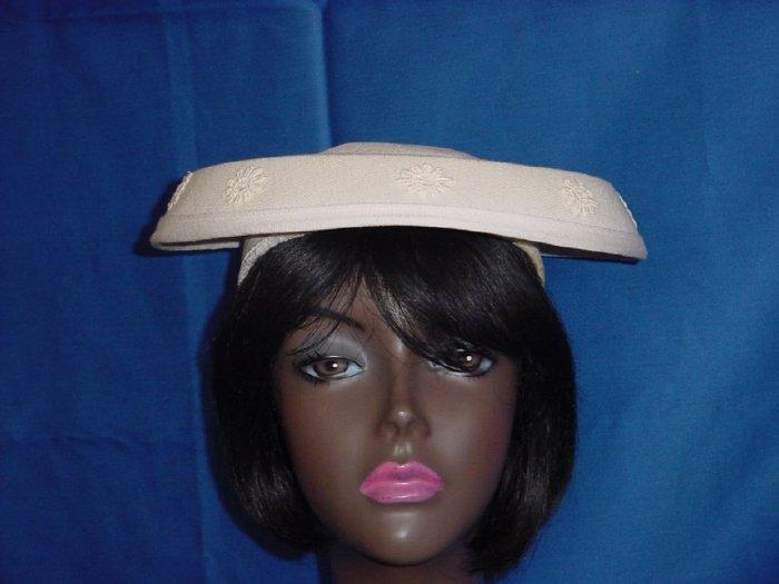 Cream flat womens vintage hat 1950s 1960s hat  No. 82
