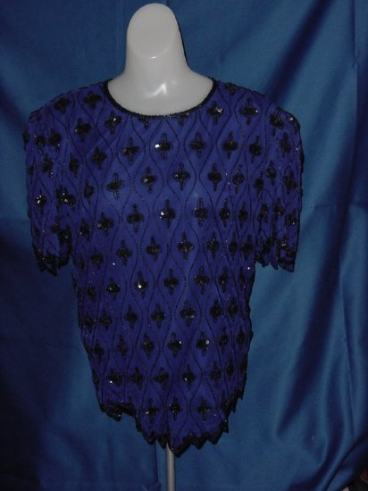 Scala 1980s purple sequin Silk Top Blouse Bust 38 Formal blouse  No. 23