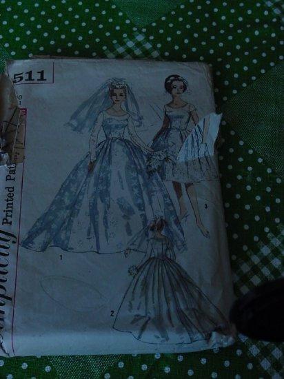 Wedding Gown pattern Simplicity 4511 wedding dress Evening Dress Bridal Gown Size 10 Bust 31 No 5