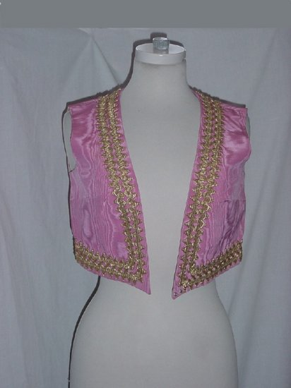 Pink Moire Vest Gold trim Costume Bust 36 No. 81
