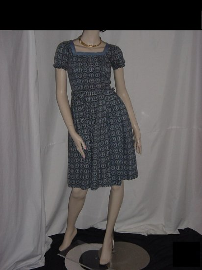 Vintage Dress Blue Gray print Very Small Dress Womens Dress Union Made 1950s 1960s  No. 5