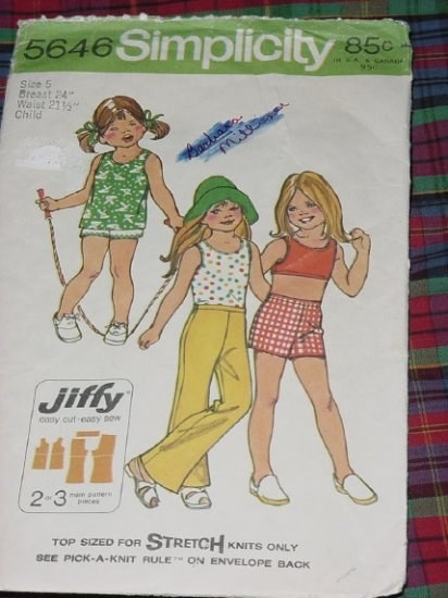 Simplicity Pattern 5646 Child Size 5 Bust 24 inch  No. 30